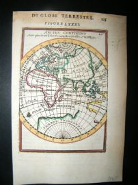 Mallet 1683 Antique Hand Col Map. Ancien Continent. Eastern Hemisphere